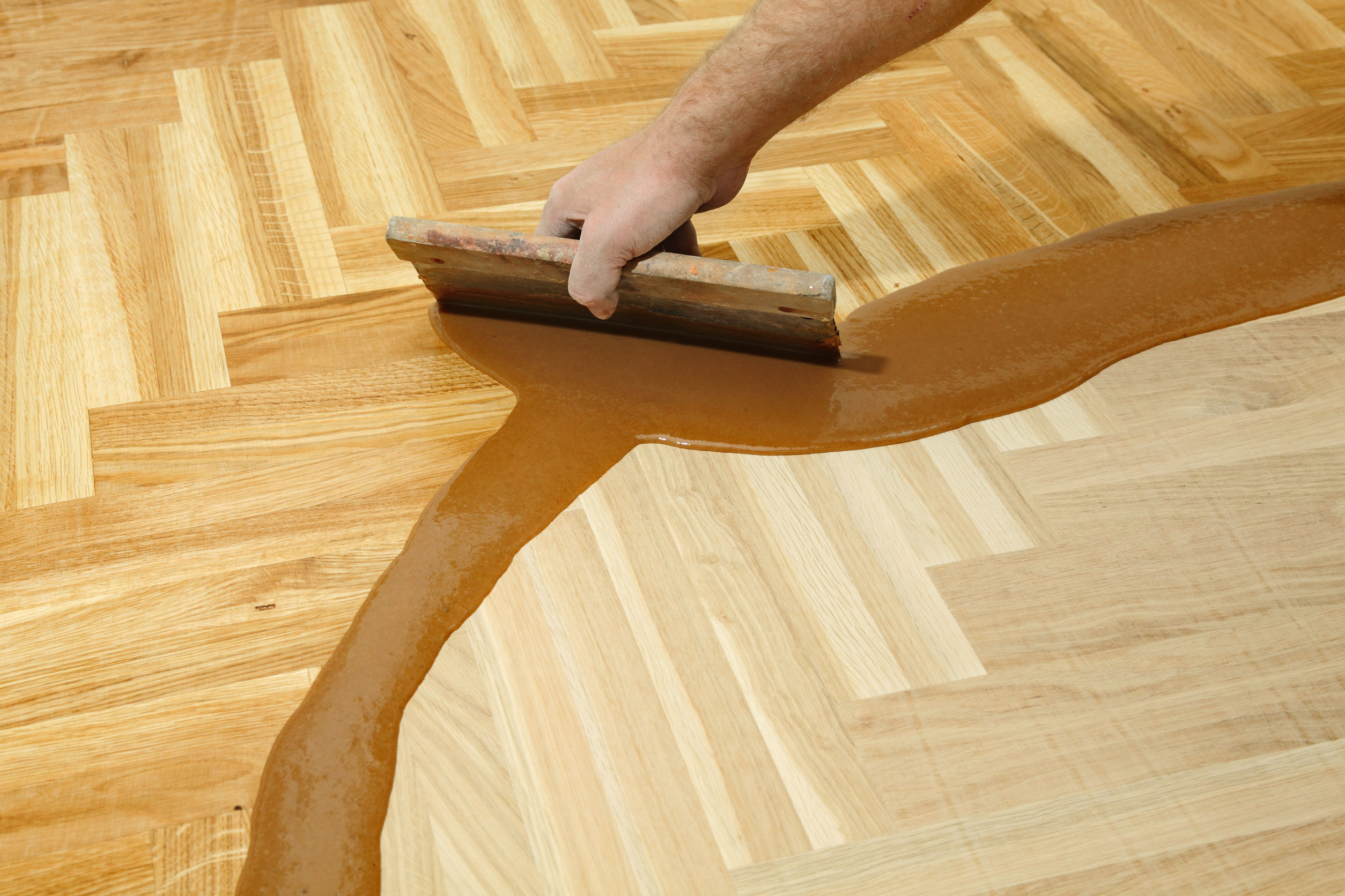 24527478 - varnishing of oak parquet floor, workers hand and tool