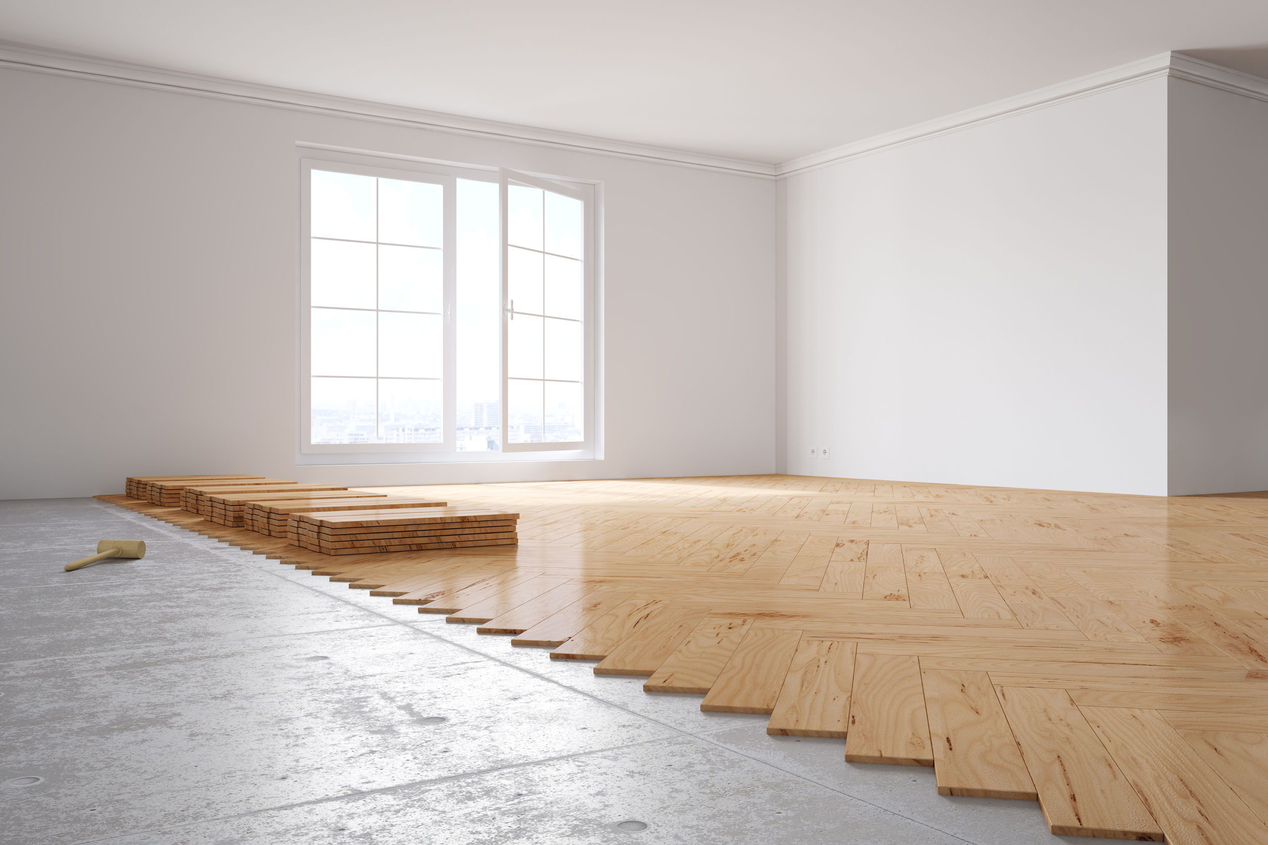55681500 - laying out poplar hardwood in room in a house